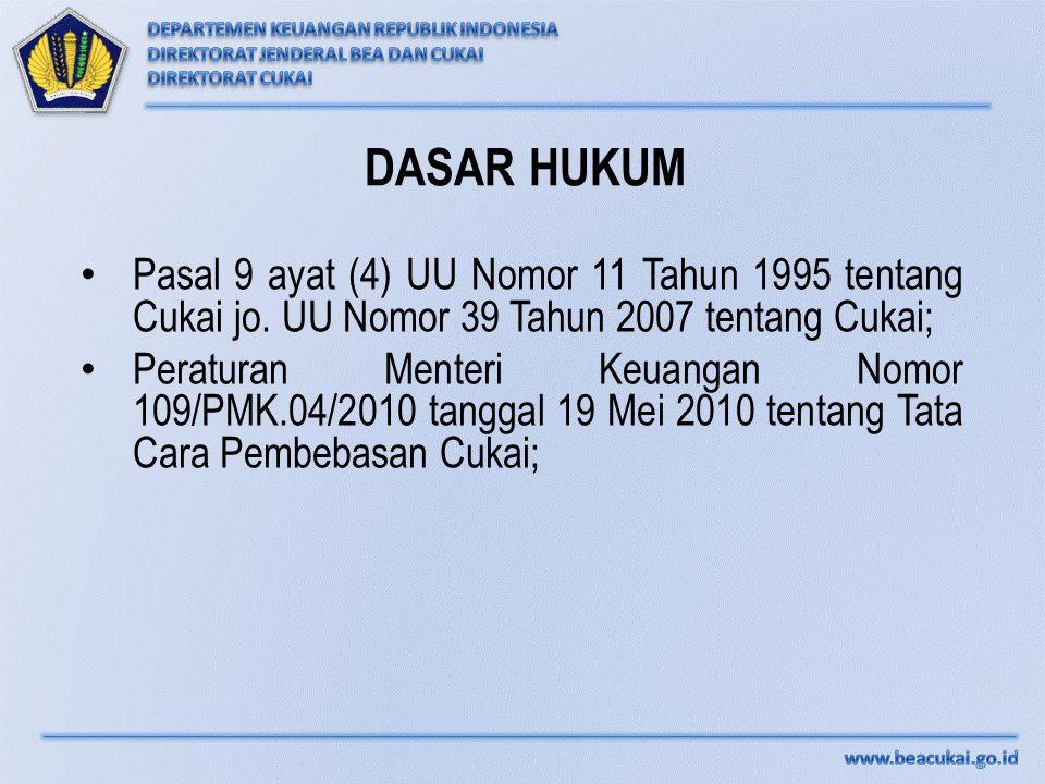 DASAR HUKUM Pasal 9 ayat (4) UU Nomor 11 Tahun 1995 tentang Cukai jo. UU Nomor 39 Tahun 2007 tentang Cukai;