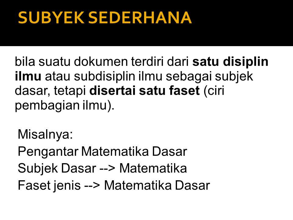 SUBYEK SEDERHANA