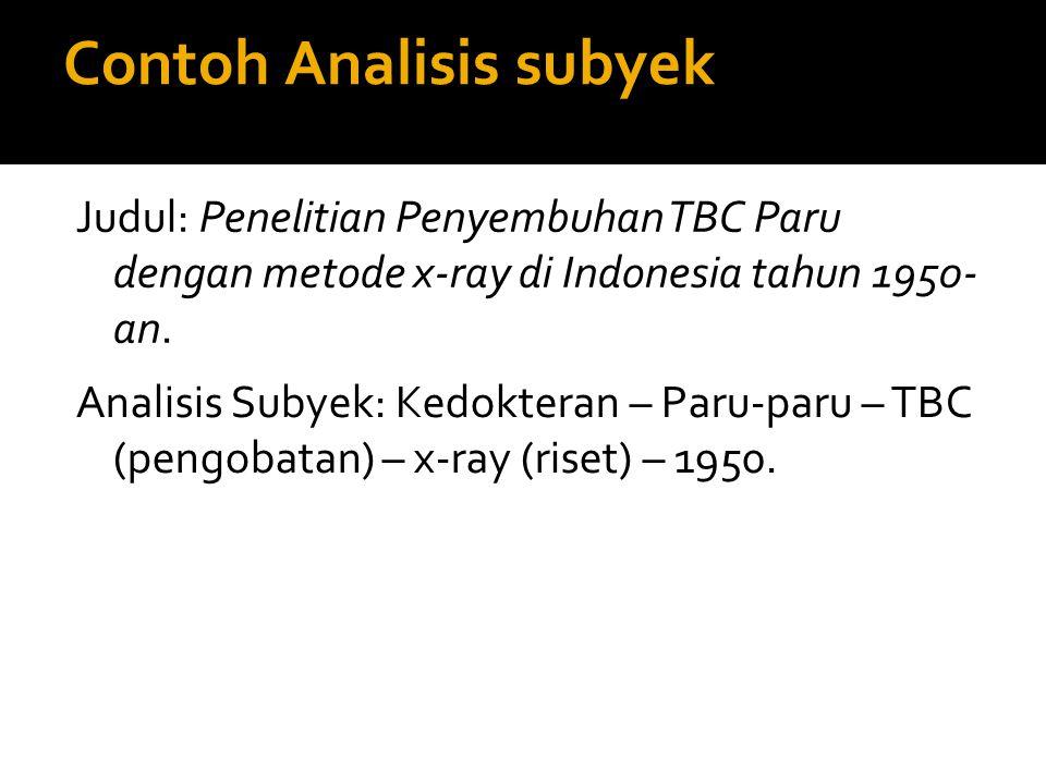 Contoh Analisis subyek