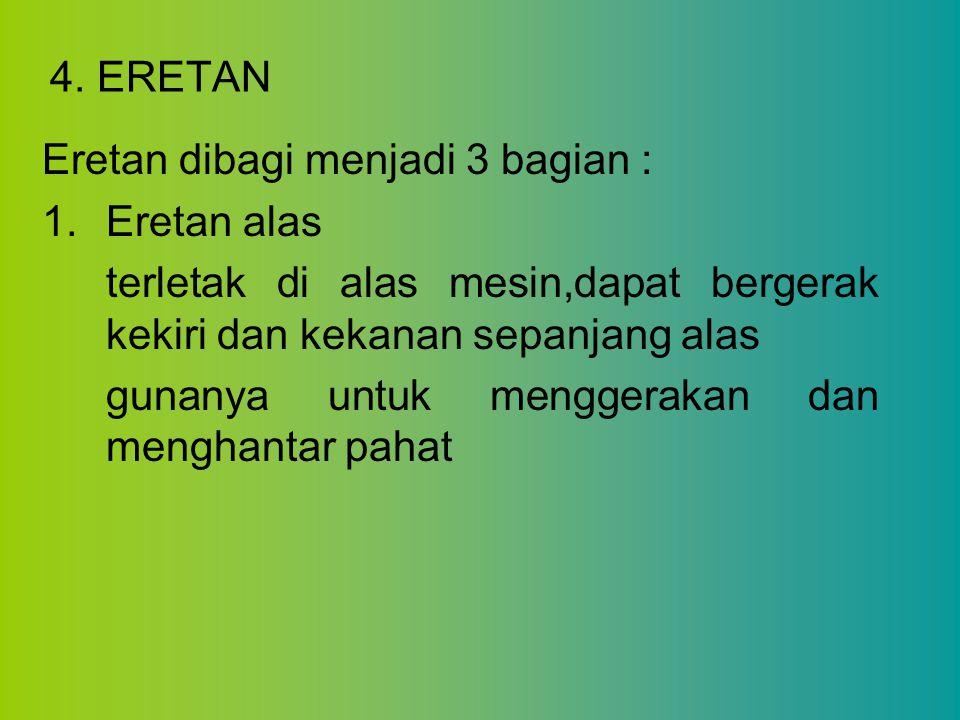 4. ERETAN Eretan dibagi menjadi 3 bagian : Eretan alas. terletak di alas mesin,dapat bergerak kekiri dan kekanan sepanjang alas.