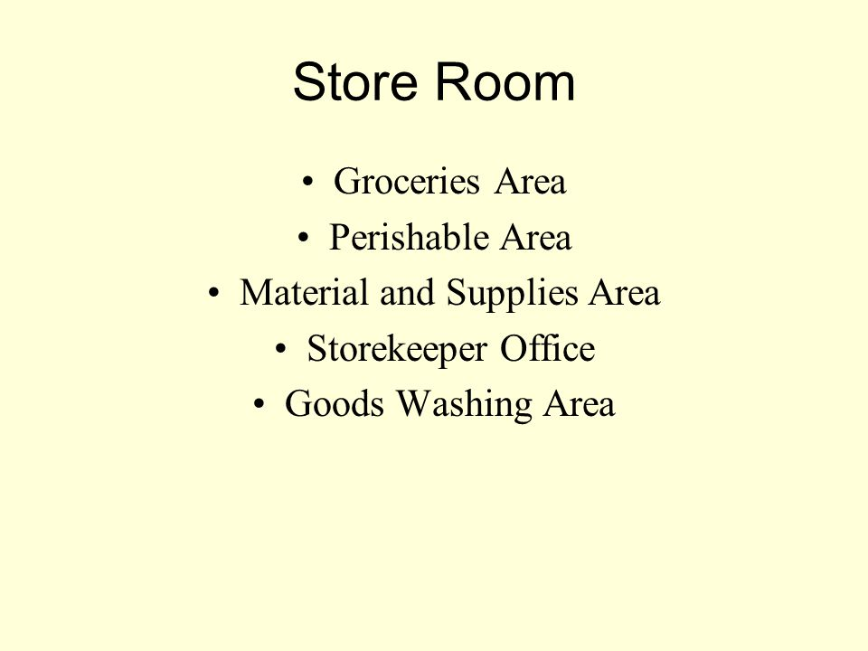 Material and Supplies Area
