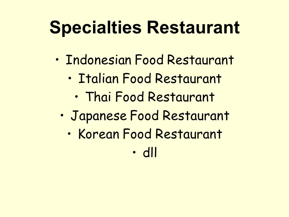 Specialties Restaurant