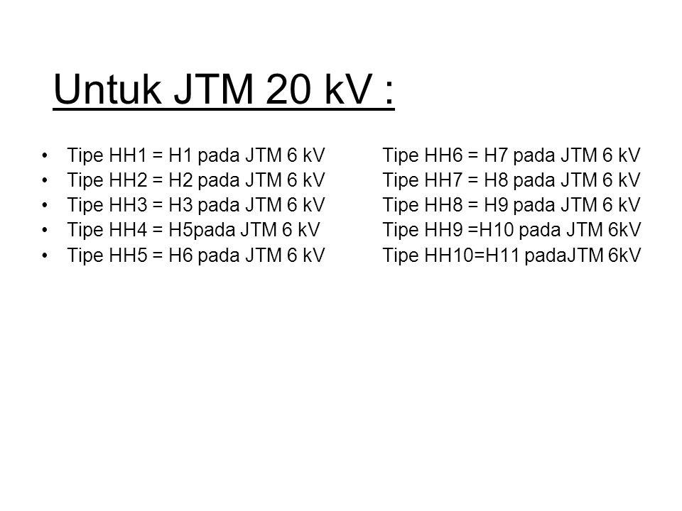 Untuk JTM 20 kV : Tipe HH1 = H1 pada JTM 6 kV Tipe HH6 = H7 pada JTM 6 kV. Tipe HH2 = H2 pada JTM 6 kV Tipe HH7 = H8 pada JTM 6 kV.