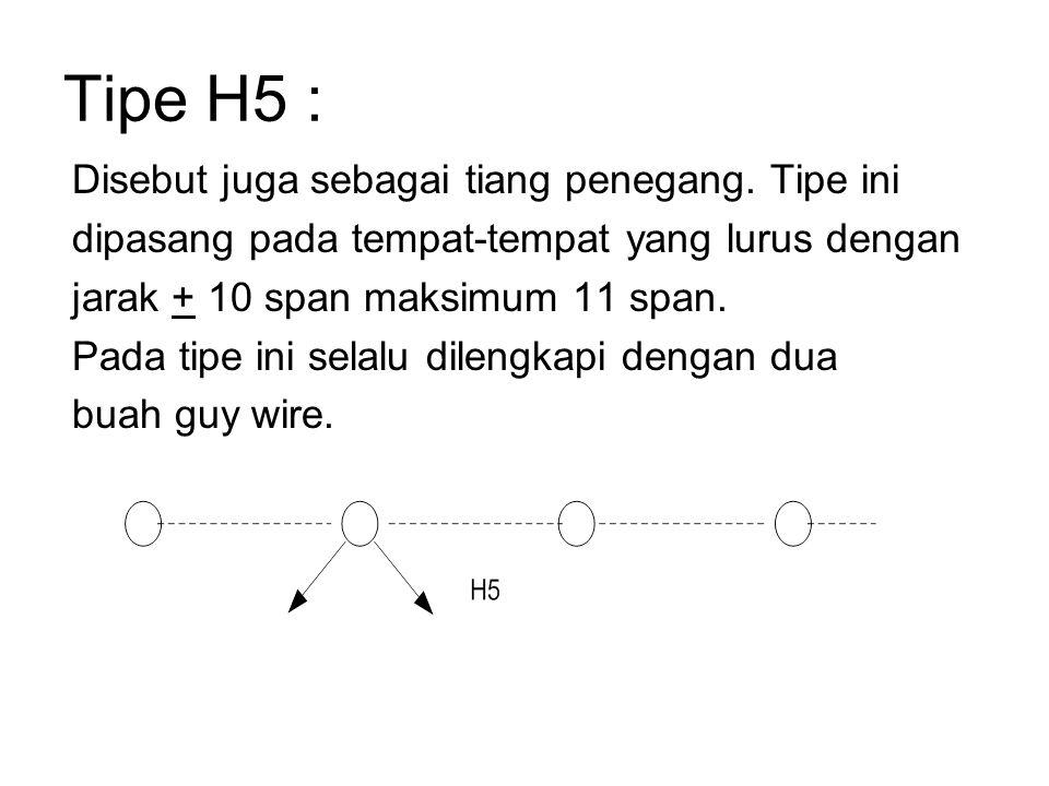 Tipe H5 : Disebut juga sebagai tiang penegang. Tipe ini