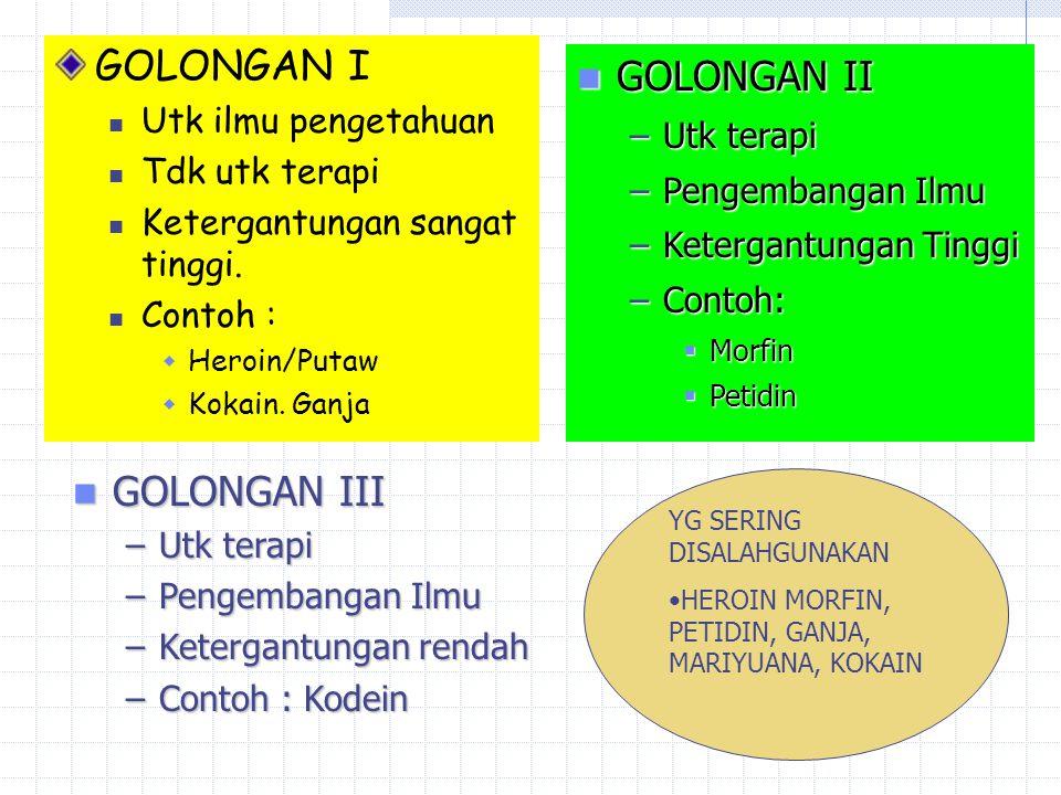 GOLONGAN I GOLONGAN II GOLONGAN III Utk ilmu pengetahuan Utk terapi