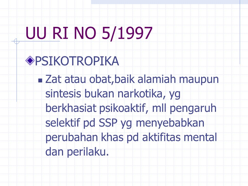 UU RI NO 5/1997 PSIKOTROPIKA.