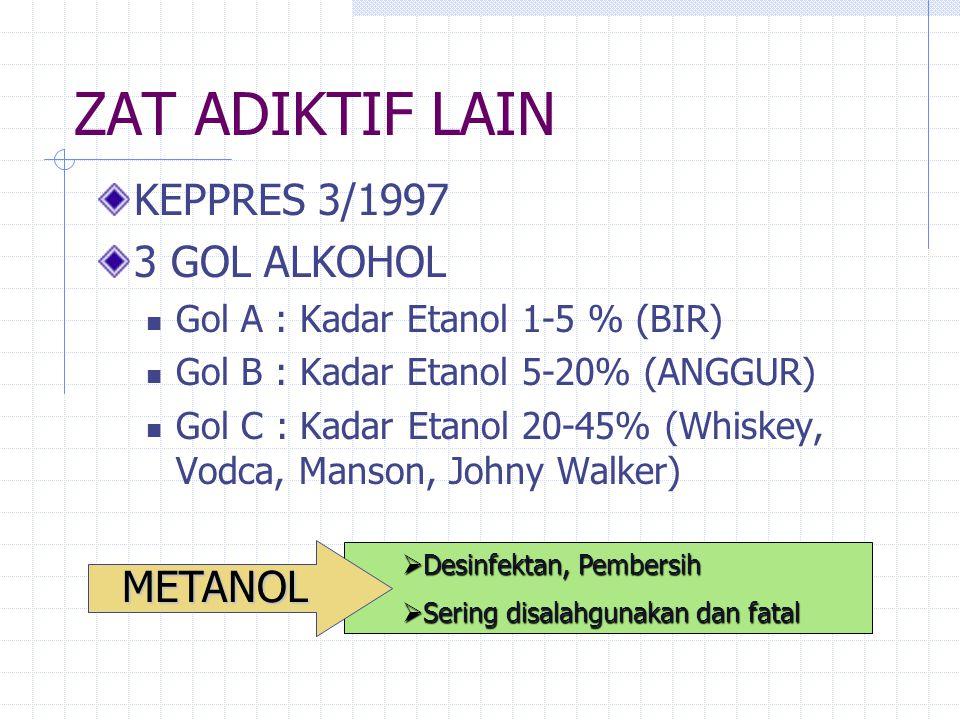 ZAT ADIKTIF LAIN KEPPRES 3/1997 3 GOL ALKOHOL METANOL