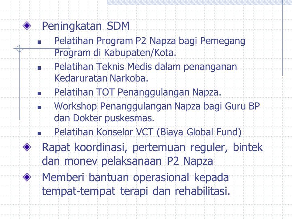 Peningkatan SDM Pelatihan Program P2 Napza bagi Pemegang Program di Kabupaten/Kota. Pelatihan Teknis Medis dalam penanganan Kedaruratan Narkoba.