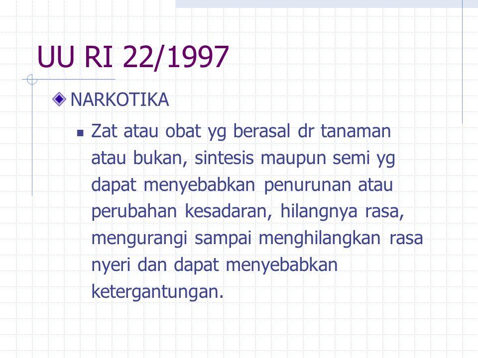 UU RI 22/1997 NARKOTIKA.