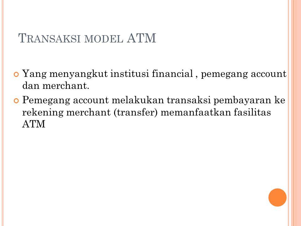 Transaksi model ATM Yang menyangkut institusi financial , pemegang account dan merchant.