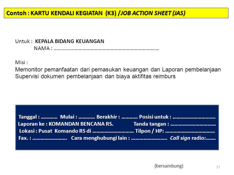 Contoh : KARTU KENDALI KEGIATAN (K3) /JOB ACTION SHEET (JAS)