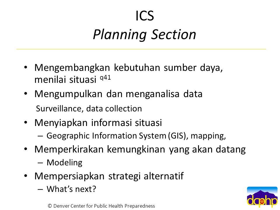 ICS Planning Section Mengembangkan kebutuhan sumber daya, menilai situasi q41. Mengumpulkan dan menganalisa data.