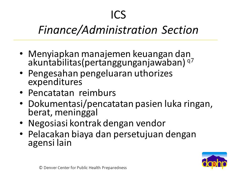 ICS Finance/Administration Section