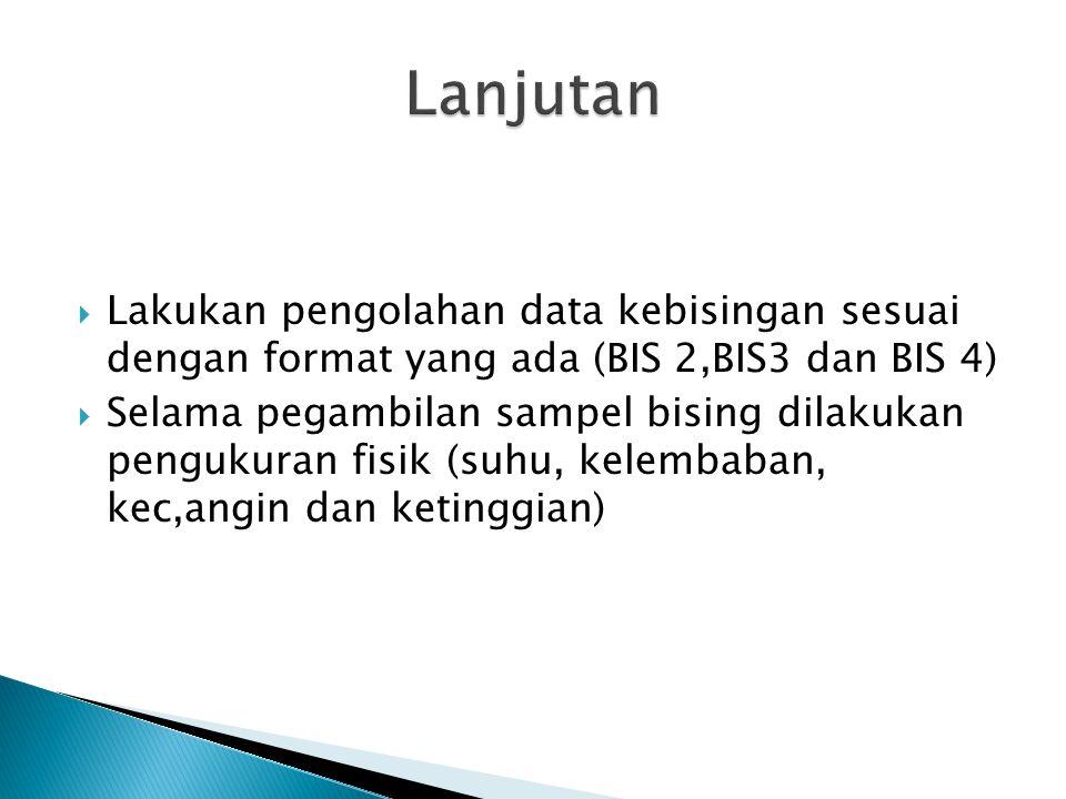 Lanjutan Lakukan pengolahan data kebisingan sesuai dengan format yang ada (BIS 2,BIS3 dan BIS 4)