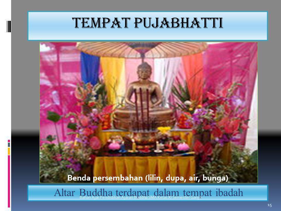 Benda persembahan (lilin, dupa, air, bunga)