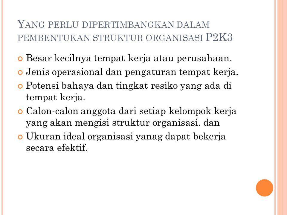 Yang perlu dipertimbangkan dalam pembentukan struktur organisasi P2K3
