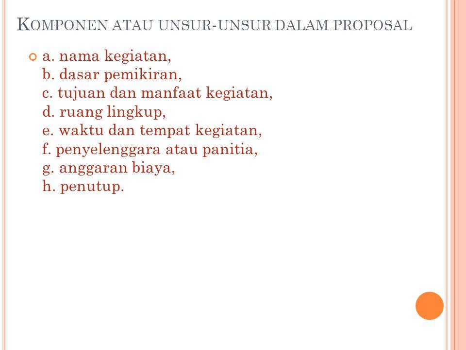 Komponen atau unsur-unsur dalam proposal