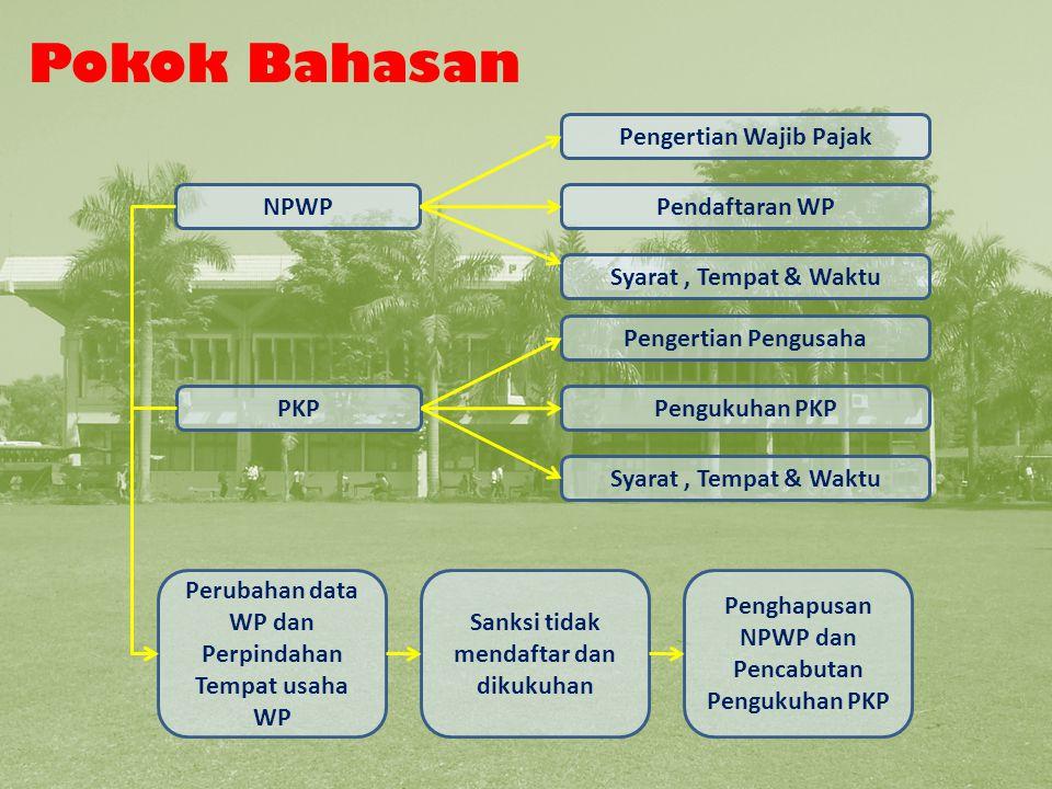 Pokok Bahasan Pokok Bahasan Pengertian Wajib Pajak NPWP Pendaftaran WP