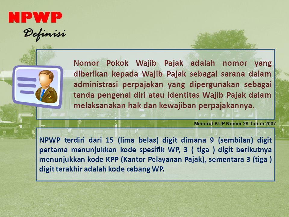 Pengertian NPWP NPWP Definisi
