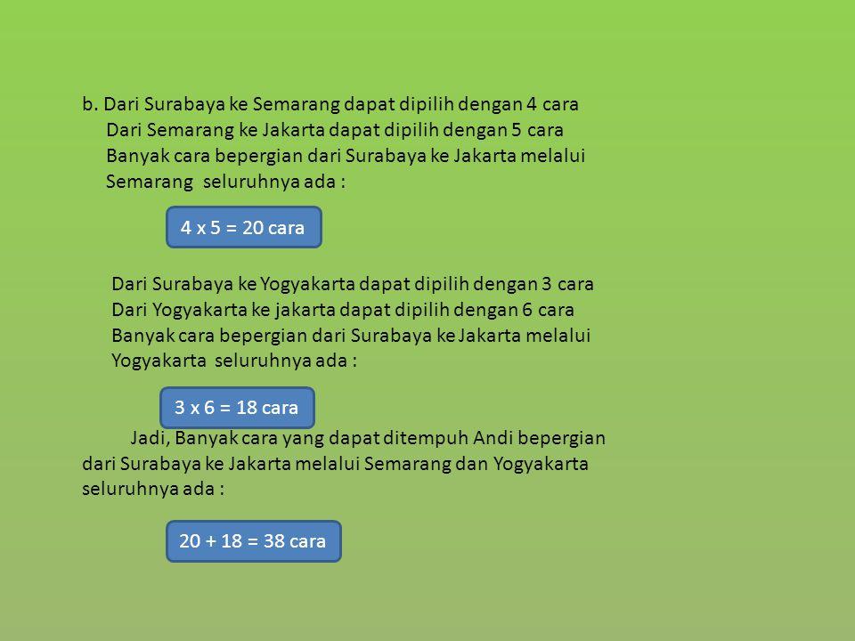 b. Dari Surabaya ke Semarang dapat dipilih dengan 4 cara