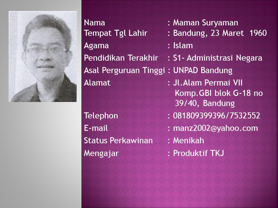 Nama : Maman Suryaman Tempat Tgl Lahir : Bandung, 23 Maret 1960