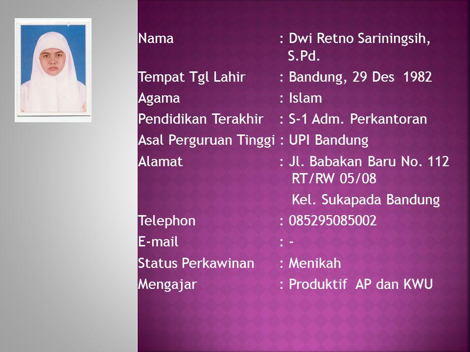Nama : Dwi Retno Sariningsih, S.Pd.