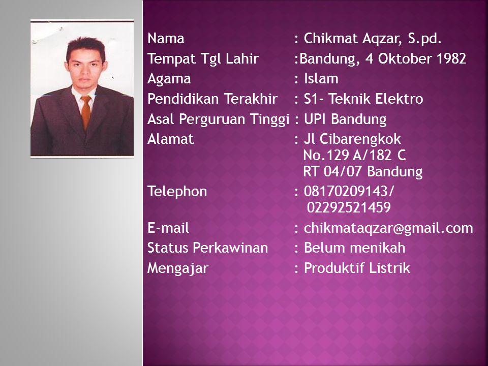 Nama : Chikmat Aqzar, S.pd.