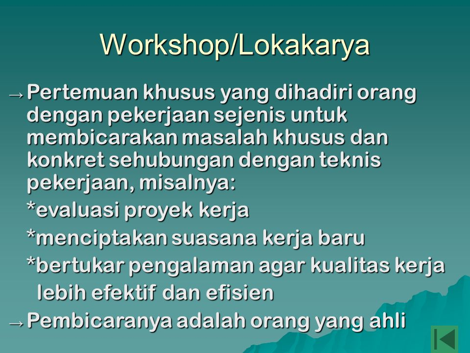 Workshop/Lokakarya