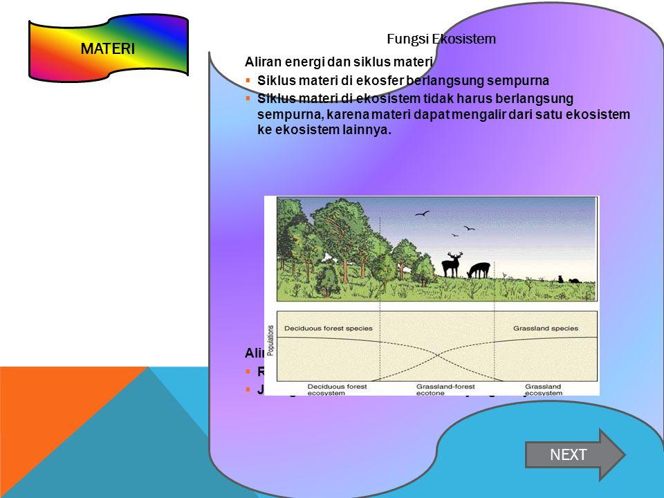 MATERI NEXT Fungsi Ekosistem Aliran energi dan siklus materi