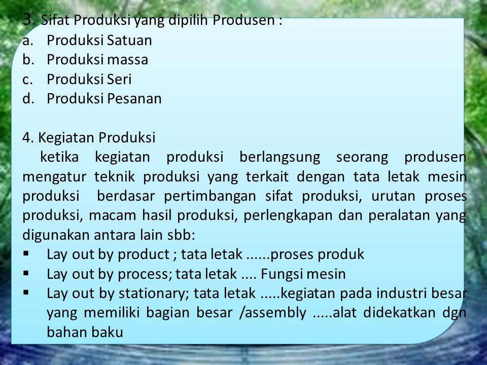 3. Sifat Produksi yang dipilih Produsen :