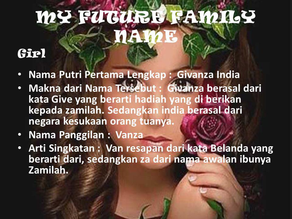 MY FUTURE FAMILY NAME Nama Putri Pertama Lengkap : Givanza India