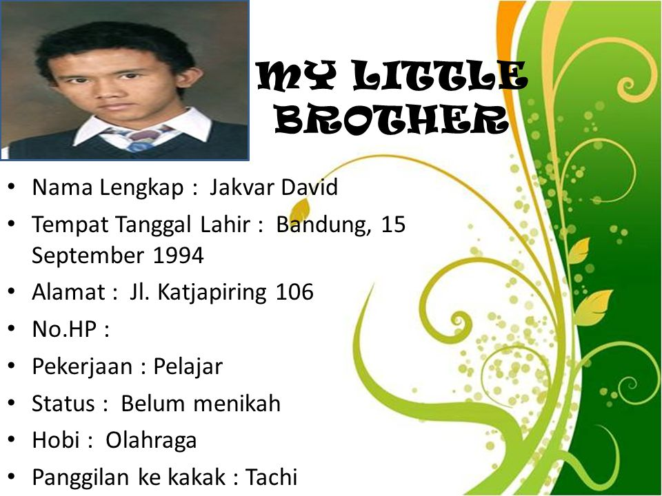 MY LITTLE BROTHER Nama Lengkap : Jakvar David