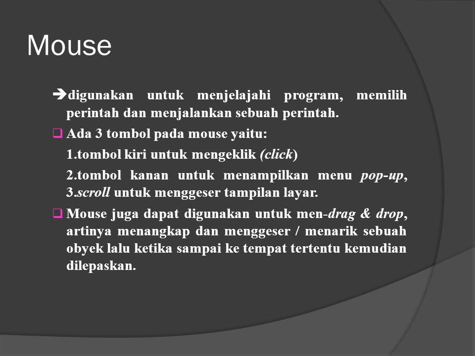 Mouse digunakan untuk menjelajahi program, memilih perintah dan menjalankan sebuah perintah. Ada 3 tombol pada mouse yaitu: