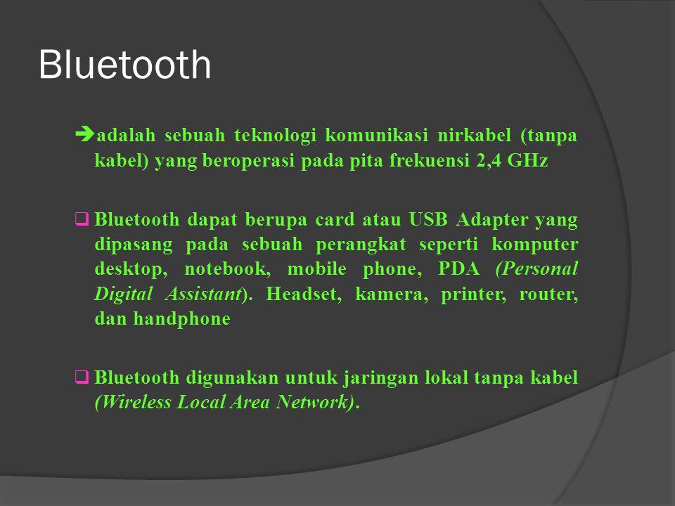 Bluetooth adalah sebuah teknologi komunikasi nirkabel (tanpa kabel) yang beroperasi pada pita frekuensi 2,4 GHz.