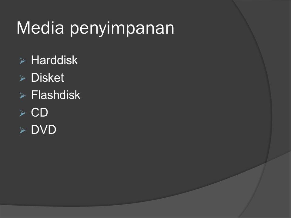 Media penyimpanan Harddisk Disket Flashdisk CD DVD