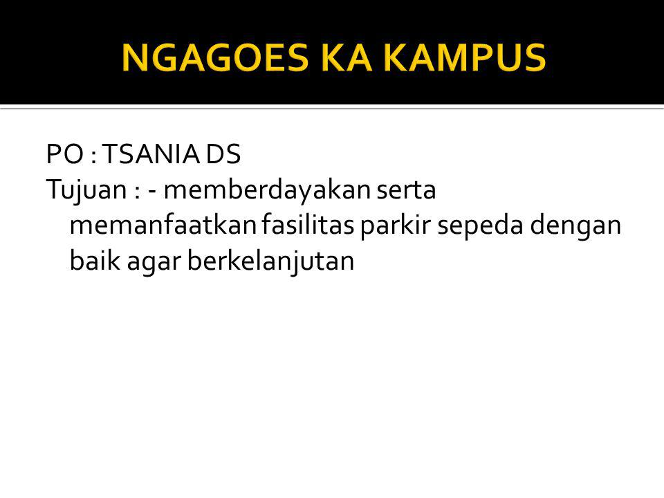 NGAGOES KA KAMPUS PO : TSANIA DS Tujuan : - memberdayakan serta memanfaatkan fasilitas parkir sepeda dengan baik agar berkelanjutan