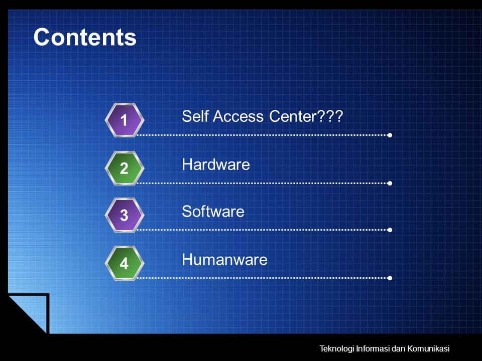 Contents Self Access Center 1 Hardware 2 Software 3 Humanware 4