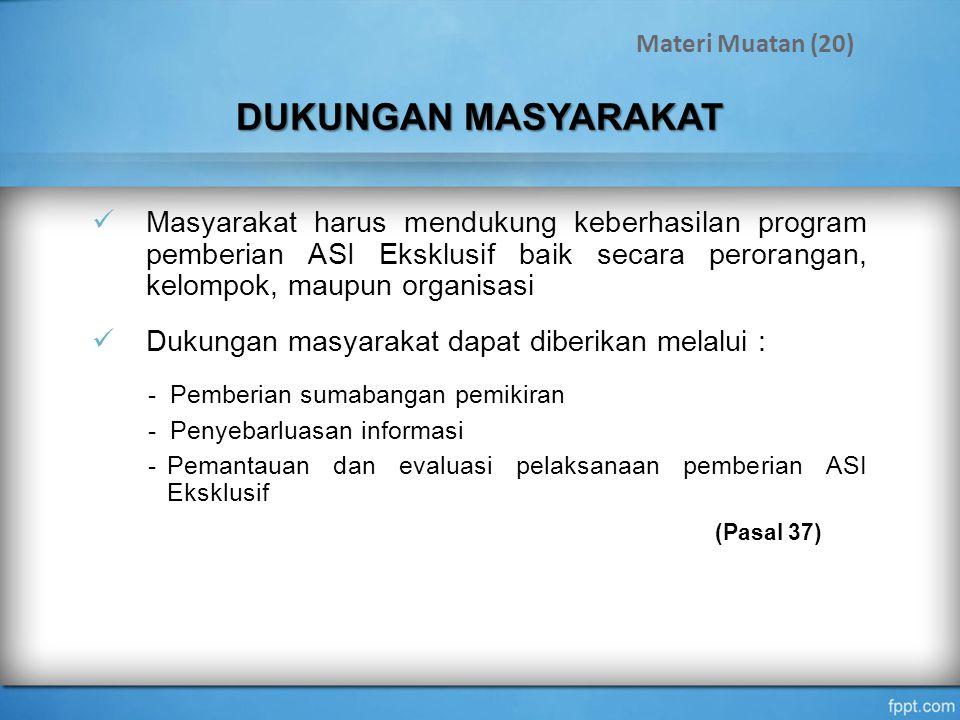 Materi Muatan (20) DUKUNGAN MASYARAKAT.