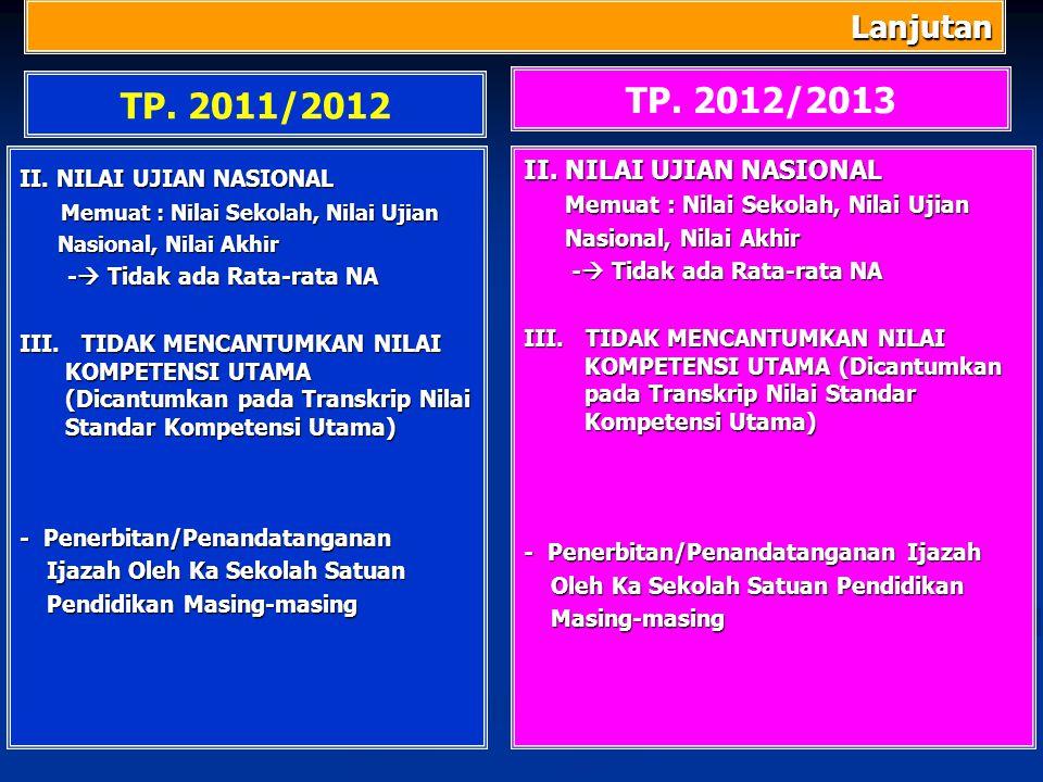 TP. 2012/2013 TP. 2011/2012 Lanjutan II. NILAI UJIAN NASIONAL