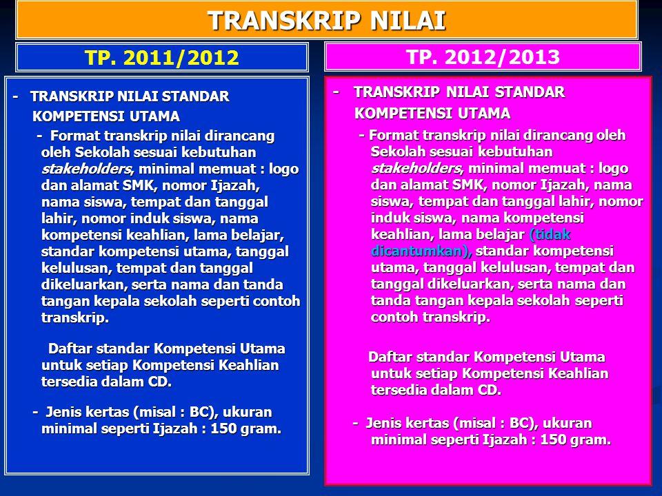 TRANSKRIP NILAI TP. 2011/2012 TP. 2012/2013 - TRANSKRIP NILAI STANDAR