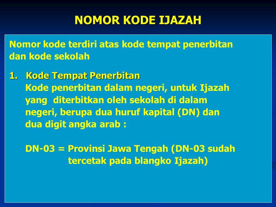 NOMOR KODE IJAZAH Nomor kode terdiri atas kode tempat penerbitan