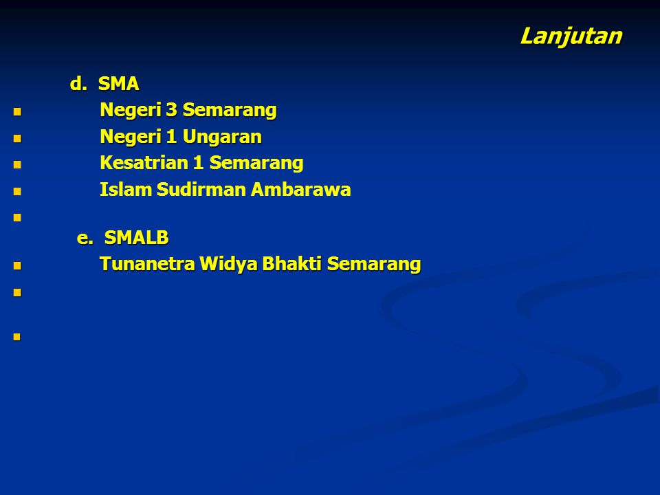 Lanjutan Negeri 3 Semarang Negeri 1 Ungaran Kesatrian 1 Semarang