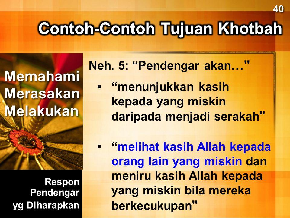 Contoh-Contoh Tujuan Khotbah