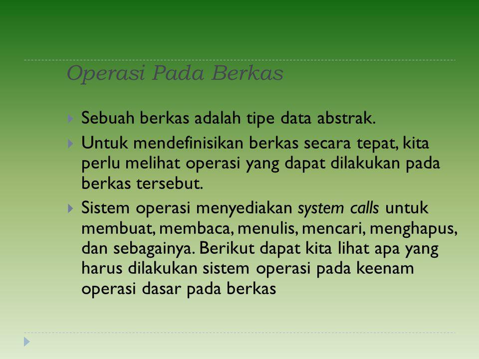 Operasi Pada Berkas Sebuah berkas adalah tipe data abstrak.