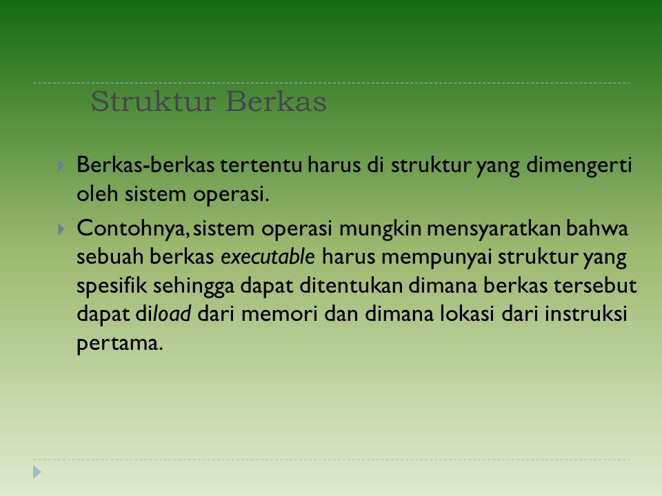 Struktur Berkas Berkas-berkas tertentu harus di struktur yang dimengerti oleh sistem operasi.