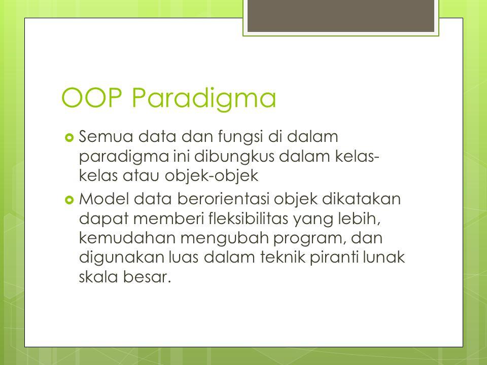 OOP Paradigma Semua data dan fungsi di dalam paradigma ini dibungkus dalam kelas-kelas atau objek-objek.