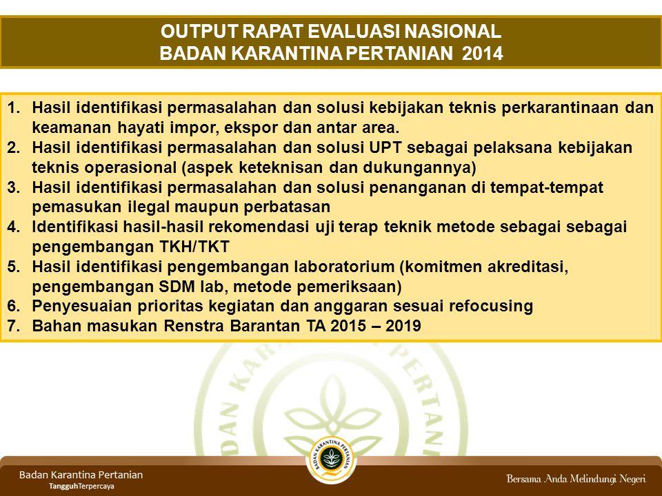 OUTPUT RAPAT EVALUASI NASIONAL BADAN KARANTINA PERTANIAN 2014
