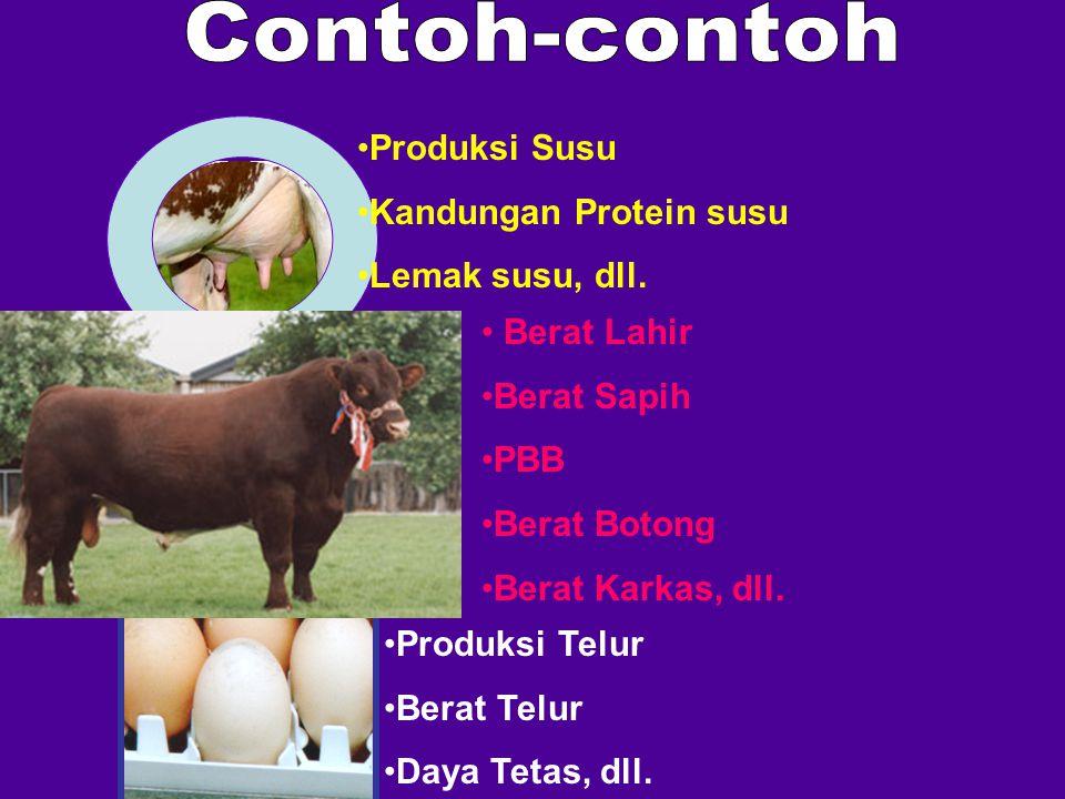 Contoh-contoh Produksi Susu Kandungan Protein susu Lemak susu, dll.