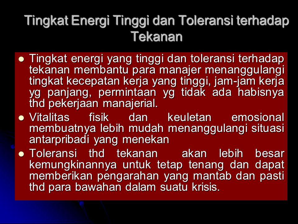 Tingkat Energi Tinggi dan Toleransi terhadap Tekanan