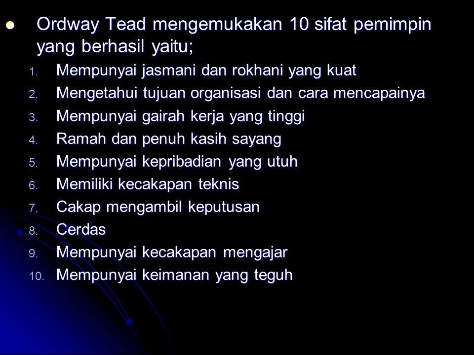 Ordway Tead mengemukakan 10 sifat pemimpin yang berhasil yaitu;